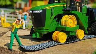 BRUDER RC tractor in trouble! Tractor with broken tracks! Action video for kids