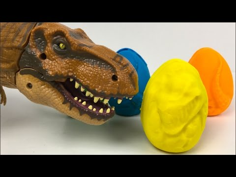 PLAY-DOH SURPRISES WITH JURASSIC WORLD T-REX MATCHBOX DINOSAUR EGGS & SMALL DINOSAURS IN SURPRISES