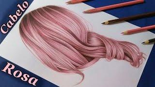 Como desenhar cabelo realista colorido (rosa) / How to draw rose hair