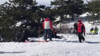 Отдых в Крыму Зимой!! АйПетри 23 февраля 2017 года. Катание на сноуборде!