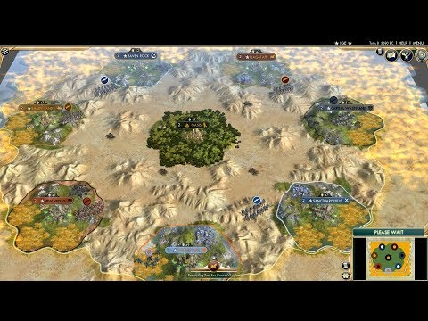 Civ 5 AI Only Timelapse: Radioactive Desert, Fallout Civs Battle