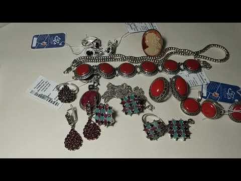 серебряные украшения в продаже. Рубины и изумруды...