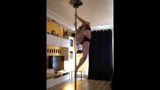 Pole dance arial fan kick