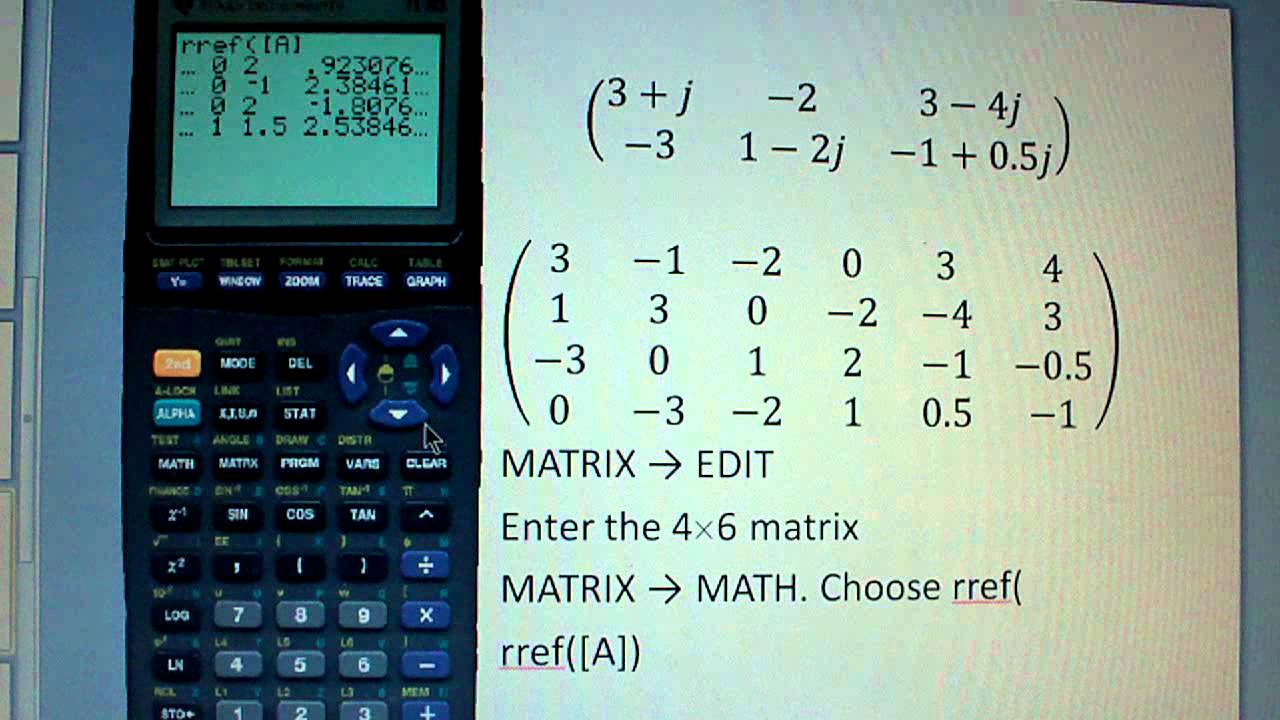 Solving system of complex valued linear equations with TI83