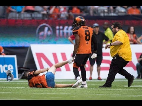 CFL streaker gets leveled by BC Lions player Lions Alouettes (video)