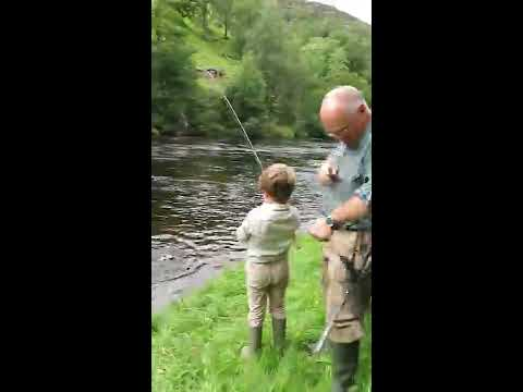 Hector Aged 7 Catches A Salmon On The River Lyon