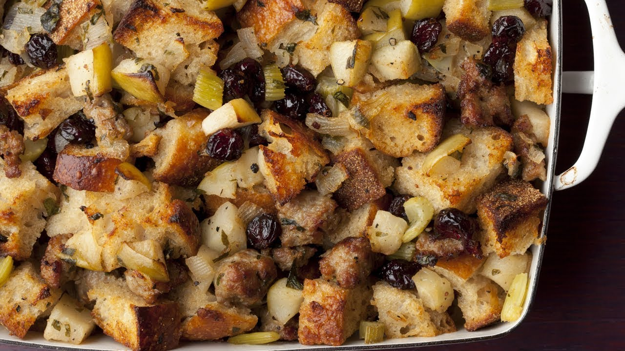 How To Make Ina S Sausage And Herb Stuffing Food Network Youtube