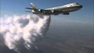Aeroplane Video - Boeing 747 supertanker water bomber aerial water drop.High Altitude water drop