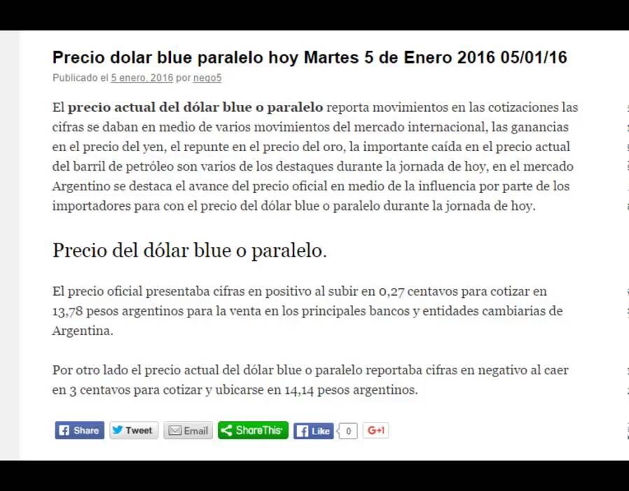 Precio del dolar blue paralelo hoy Martes 5 de Enero 2016 05/01/16 - YouTube
