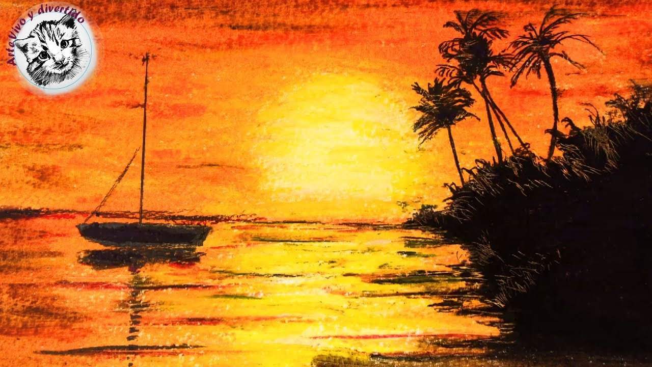 Cuadros Oleo Principiantes How To Draw A Sunset Scenery With Oil Pastel For Beginners Narrated In Spanish
