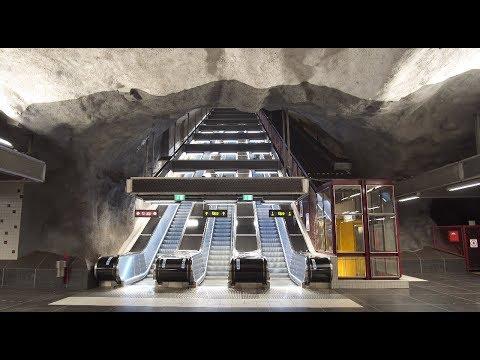 Sweden, Stockholm, Stadshagen subway station, 5X escalator, 2X inclined elevator
