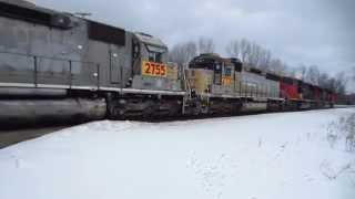 National Railway Equipment SD45s and CN Cargo Cool refrigerated containers