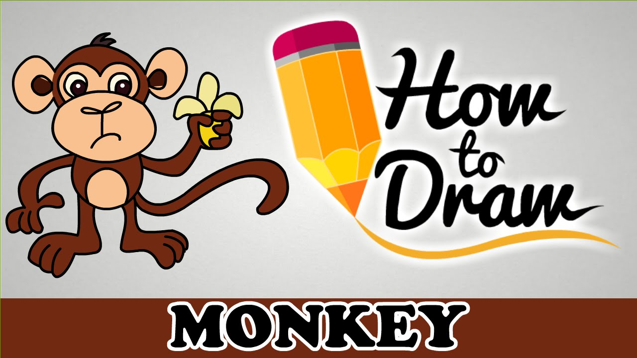 How To Draw A Monkey   Easy Step By Step Cartoon Art Drawing Lesson  Tutorial For Kids U0026 Beginners   YouTube