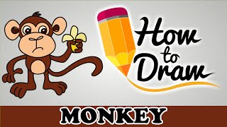 How To Draw A Monkey - Easy Step By Step Cartoon Art Drawing Lesson Tutorial For Kids & Beginners