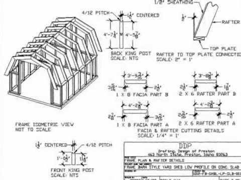 Gambrel roof 10 39 x 12 39 barn style shed plan youtube for Free pole barn plans with material list