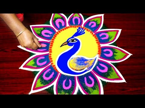 Peacock rangoli design for pongal - simple bird kolam designs - freehand special rangoli design