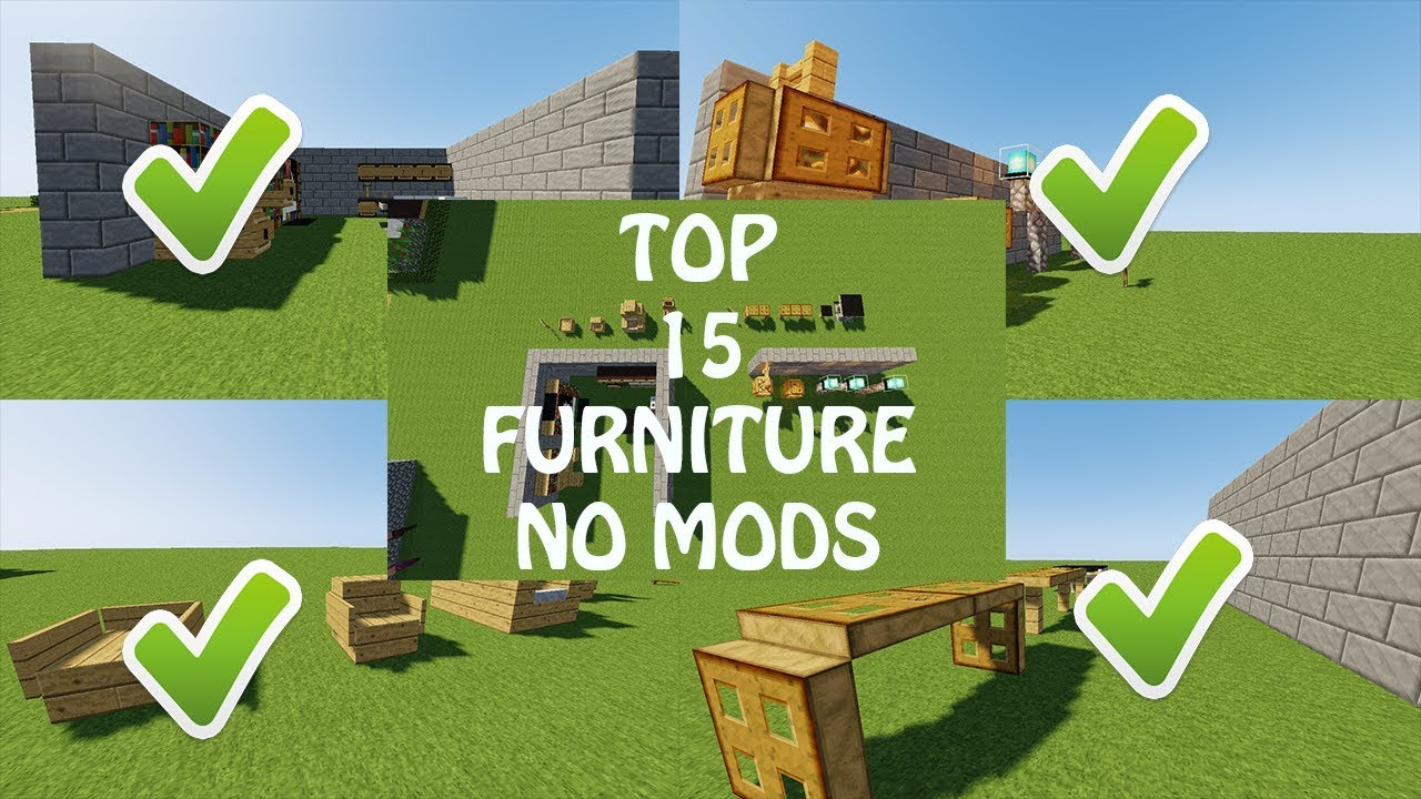 TOP 15 FURNITURE NO MODS NO COMMAND BLOCK - SHOWCASE MINECRAFT