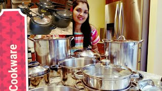 My Kitchen Cookware collection in TAMIL  | Hawkins Pressure cooker | Rice drainer | Instant pot