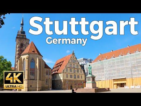 Stuttgart, Germany Walking Tour (4k Ultra HD 60fps)