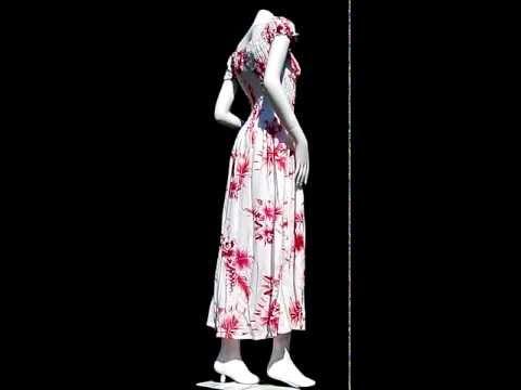 48812 Summer Smock Top Baby Doll Viscose Dress - Hawaiian Hibiscus Flower - White Red