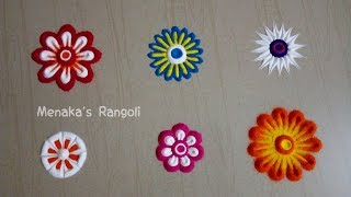 Flower Rangoli Designs | Flower Kolam Designs | Flower Rangoli Techniques |
