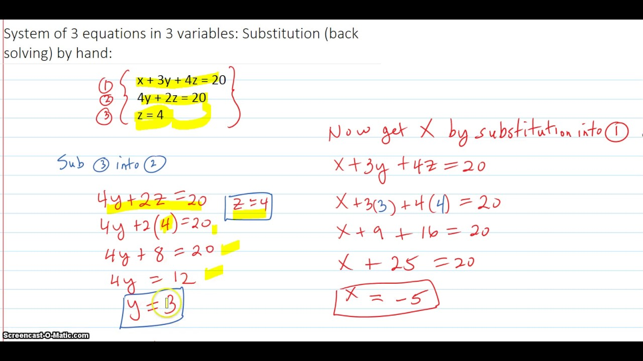 System of 3 equations in 3 variables: Substitution (back ...
