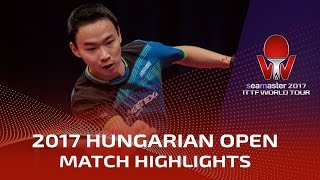 2017 hungarian open highlights fang bo vs wang xi r16