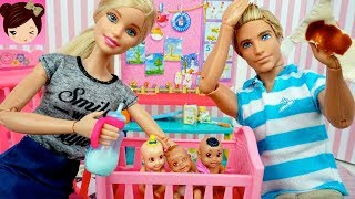 Barbie Doll Day Care Routine - Ken Helps Babysitting and Changing Diapers!