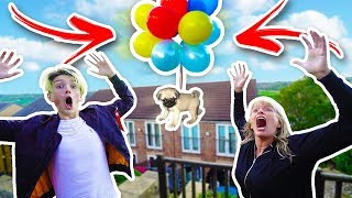 FLYING MY DOG WITH BALLOONS EXPERIMENT!! **FLEW AWAY**
