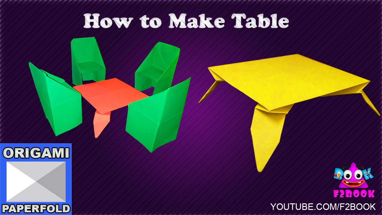 Origami table folding instructions how to make paper for Instructions on how to build a table