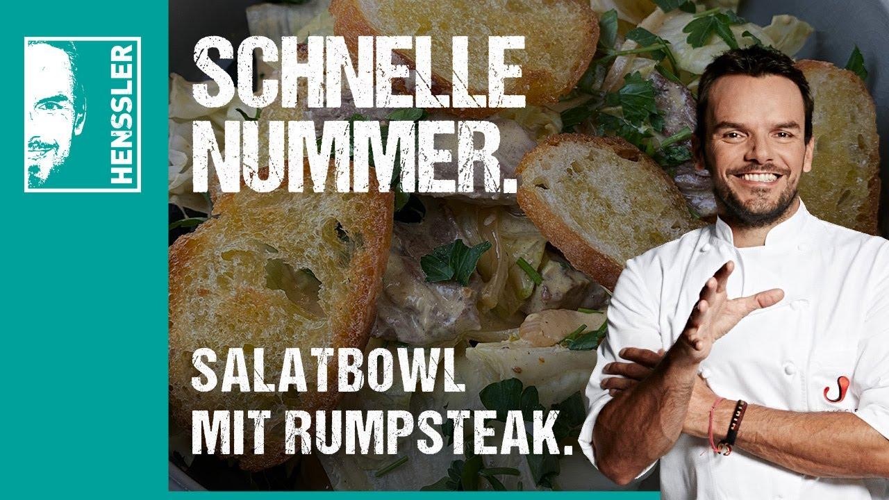 Schnelles Salatbowl-Rezept mit Rumpsteak auf geröstetem Brot mit Senfdressign von Steffen Henssler