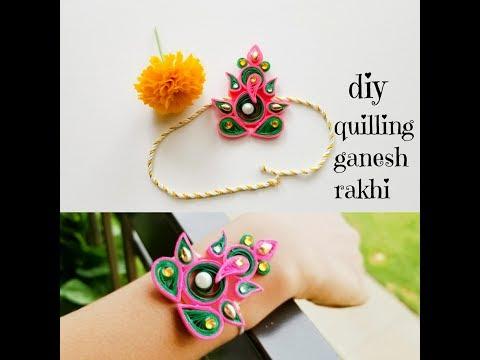 How to make rakhi at home||quilling ganesha rakhi||Rakhi making