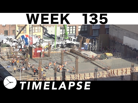One-week construction time-lapse w/13 closeups: Week 135: Concrete pours; roof screen; more