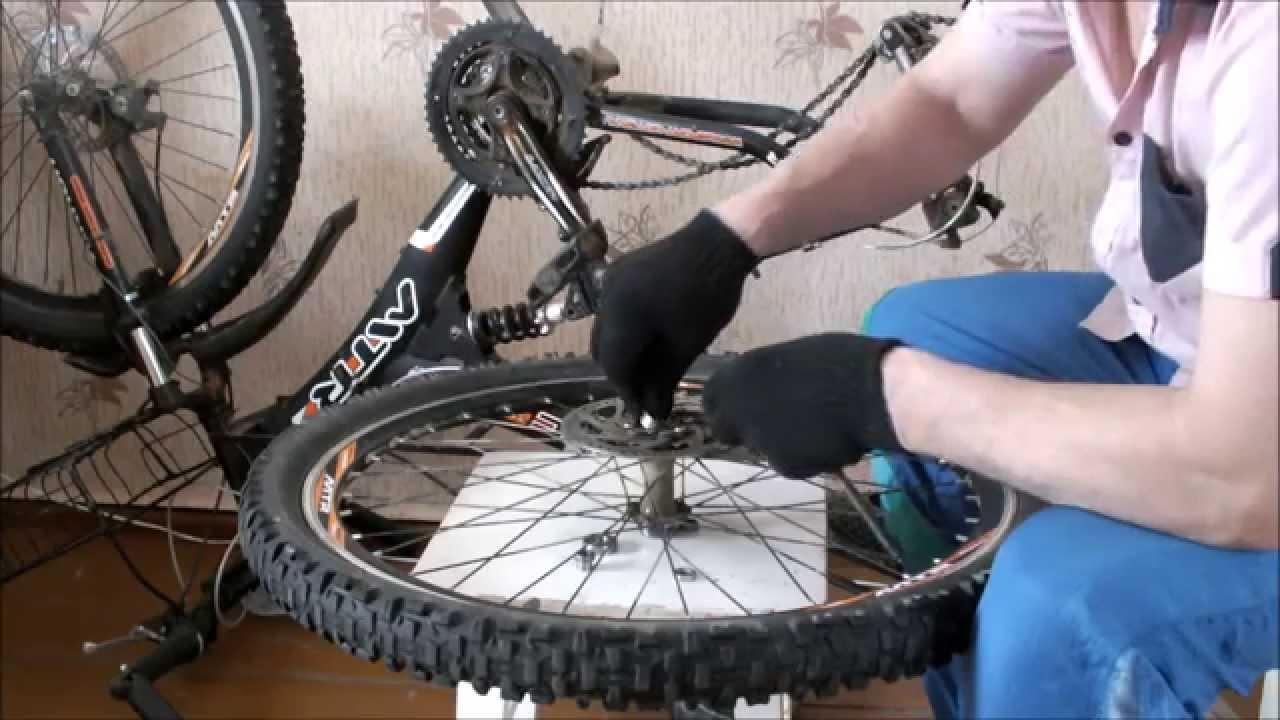 Замена оси заднего колеса велосипеда stels voyager - YouTube