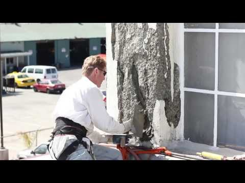 Repair spalling concrete with Rendering or stucco