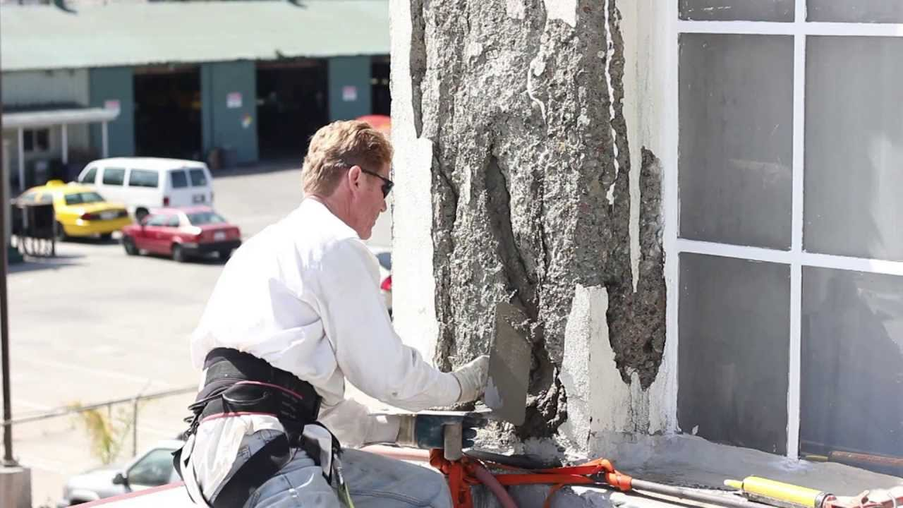 Spalling Concrete With Plaster Or