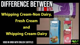 Difference between Fresh Cream, Whipping Cream-Dairy and Whipping Cream-Non Dairy (In Hindi)