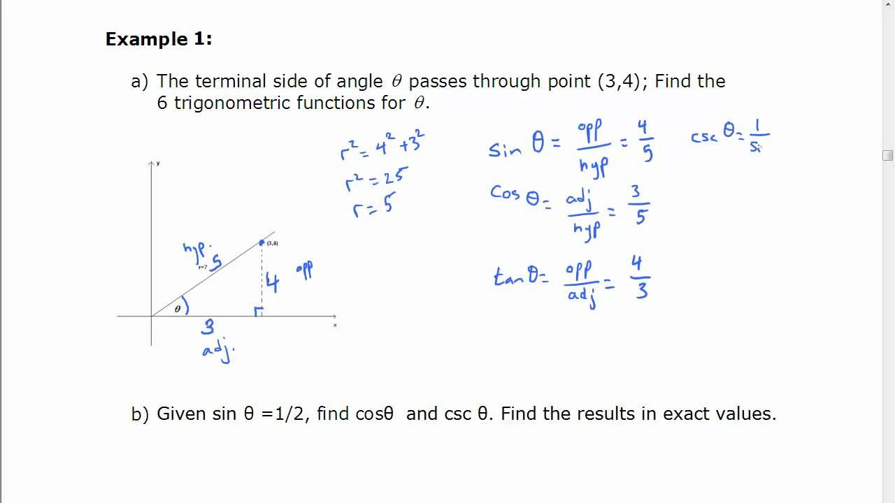 Finding Exact Values For Trigonometric Ratios Youtube
