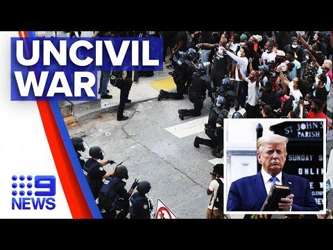 Backlash after Trump poses with bible amid Washington protests | Nine News Australia