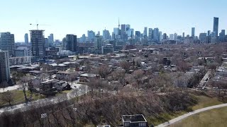 Bird's eye view of dramatic effect coronavirus pandemic has had on Toronto