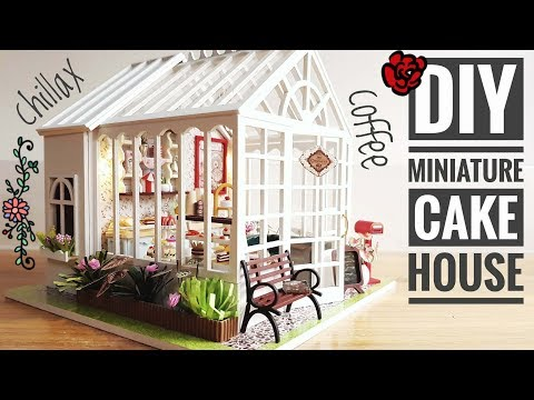 DIY Miniature Cake House in a Green House Kit with Music and Light