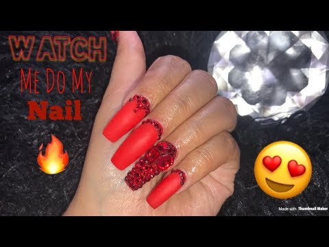 Watch Me Do My Nails | Red Matte Coffin Nails | Acrylic Nails Tutorial |