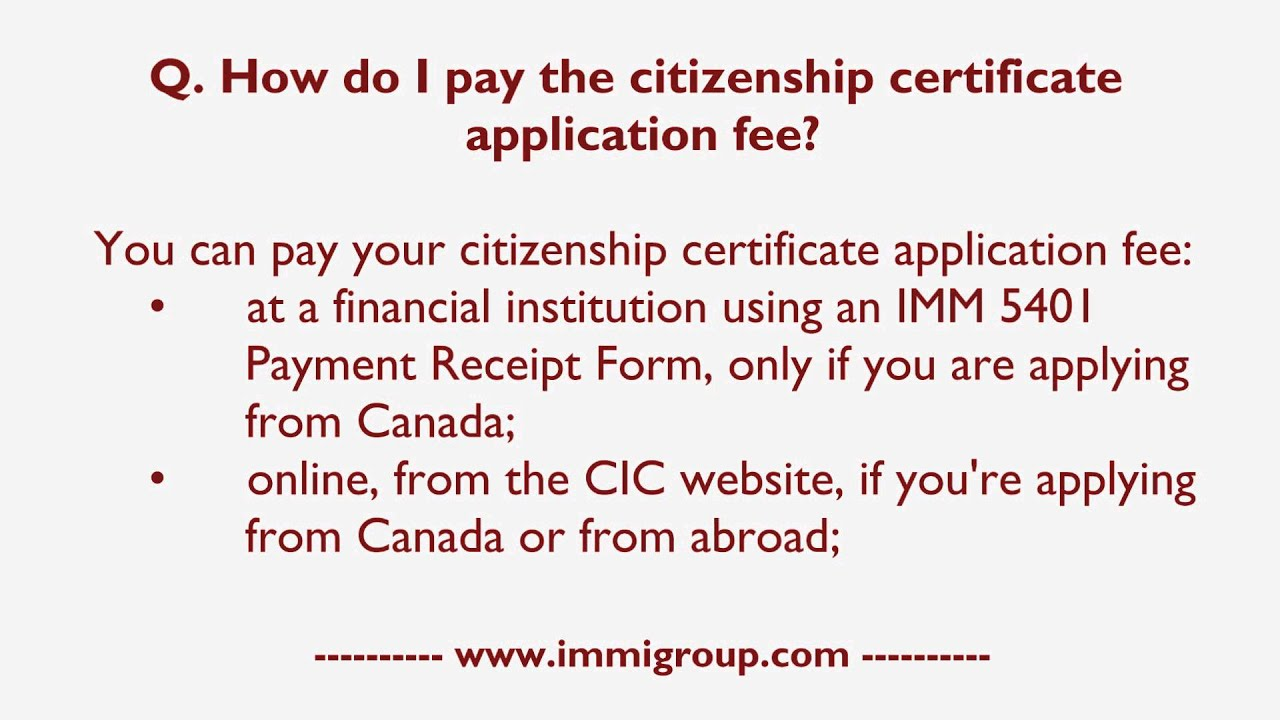 How Do I Pay The Citizenship Certificate Application Fee Youtube