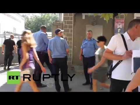 Ukraine  Privatbank branch shattered in Melitopol explosion
