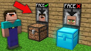 Minecraft NOOB vs PRO: WHAT DIRT CHEST VS DIAMOND CHEST WITH FACE SCANNER CAN OPEN NOOB? trolling