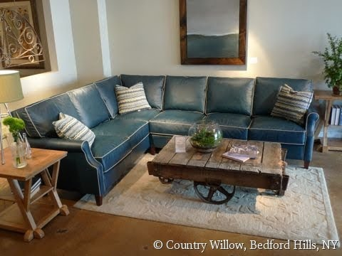 Blue Leather Sectional Sofa Youtube