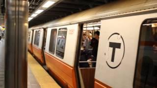 MBTA Orange Line Train leaves Downtown Crossing