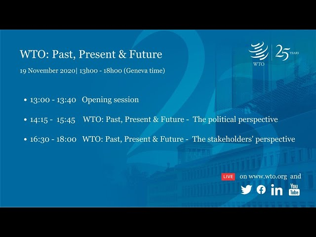 WTO: Past, Present & Future  - Opening Session