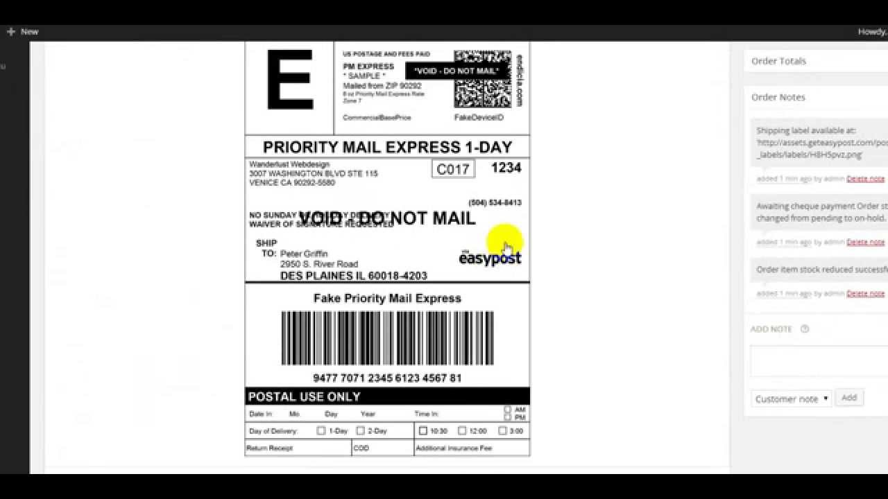 Print usps fedex ups shipping labels via woocommerce for Create fake shipping label