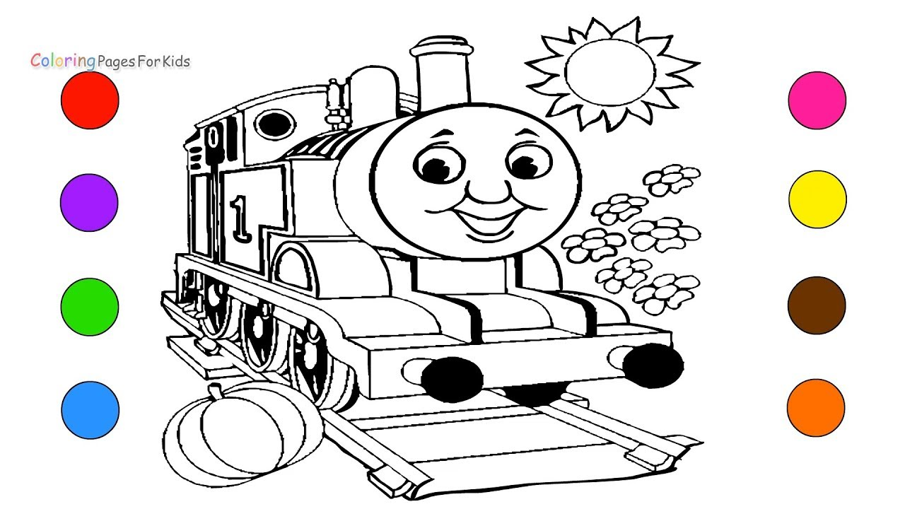 Train Coloring Pages For Kids Children Toddlers - Learn Colors With ...
